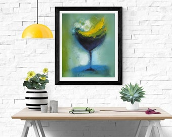 Abstract painting modern still life print canvas and paper,turquoise green yellow giclee wall art print,green navy blue wall canvas kitchen
