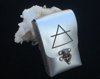Ready to Ship ~ LAST ONE AIR etched Alchemy Element Symbol on Silver Leather Tarot Deck Cards Holder Pouch Case
