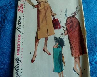 Vintage 1950s Simplicity sewing pattern 4975 slim skirt