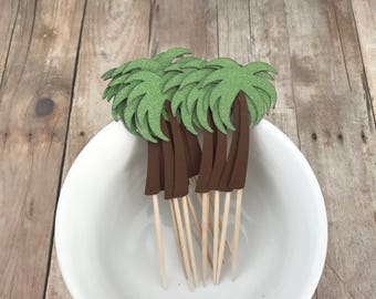 Green Glitter Palm Tree Cupcake Picks, Set of 12 - Party Picks, Cupcake Topper - Birthday Party, Summer Party, Luau, Beach Party