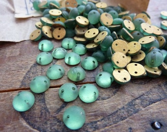Antique Two Hole Faceted Glass Sew On Beads 6mm (10)