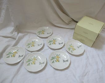 """7 Beautiful LENOX BUTTERFLY MEADOW """"Party"""" Plates  6 1/2"""" (new old stock)"""
