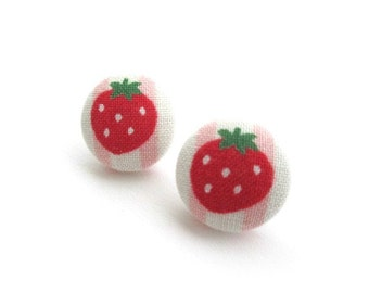 19mm Strawberry fabric covered button stud earrings, post earrings, fruit fabric earrings, red ear studs jewelry