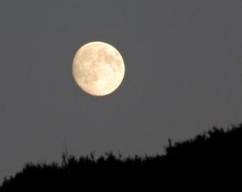 Winter Moon in Grey Sky above hillside, Golden Moon photograph, waxing gibbous moon, moonrise, Full Moon photo, moon phase photograph,
