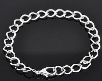 Horse (x 2) bright silver metal mesh bracelet