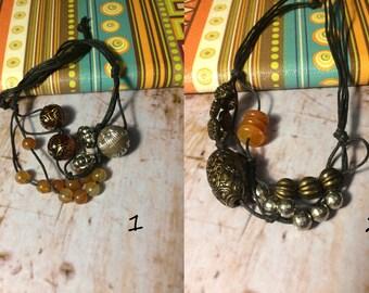 Boho beaded brown cord bracelet, beach bracelet, summer beaded bracelet