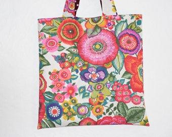 Reversible tote bag - - floral design * boho *-colorful tones