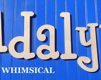 """Wooden Wall Letters - 8"""" Size - Unpainted - Whimsical plus Various other Fonts - Gifts and Decor for Nursery - Home - Playrooms - Dorms"""