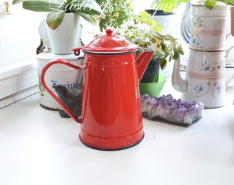 French Enamelware Vintage Coffee Pot with Hinged Lid, Red, signed, c. 1930's, Mother's Day Gift, Gift for Her