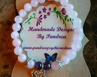 Handmade Amethyst & Pink Rose Quartz Bracelet