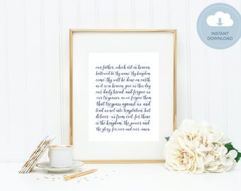 The Lord's Prayer Art - Instant Download Art Print by Mirabelle Creations