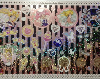 Sailor Moon 20th Anniversary Large Shiny Stickers in Cardboard Holder - Type 8 Moon - Reference A5271A6101-02