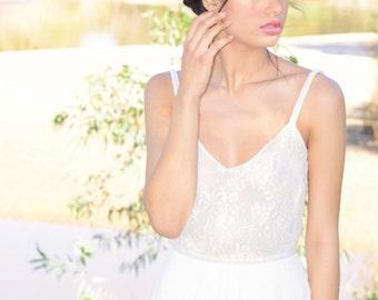 Hazel- Romantic wedding dress with lace top and chiffon skirt, boho wedding dress, backless  wedding dress, beach wedding dress