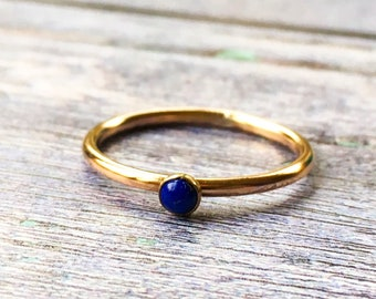 Lapis Lazuli ring, Blue gemstone stacking ring, Gold fill ring, Dainty gold gem ring, Gift for her, Mothers Day gift, Handmade