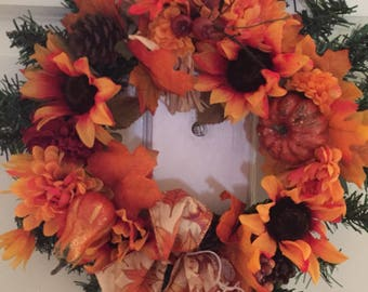 Wreath for door  Hand made Fall wreath   2020 13 inch