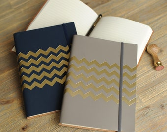 Recycled Leather Chevron A5 Lined Journal Notebook