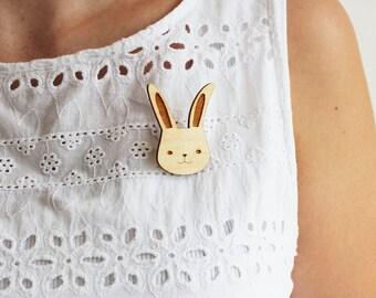 Laser Cut Wooden Bunny Rabbit Brooch