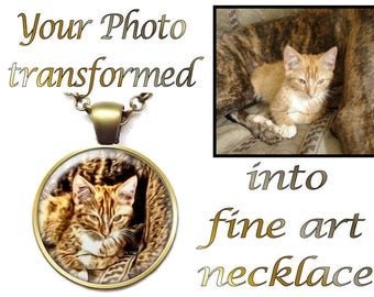 Custom Pet Necklace, Custom Cat Painting, Custom Digital Painting, Custom Cat Portrait, Custom Cat Photo, Your Choice of Finish