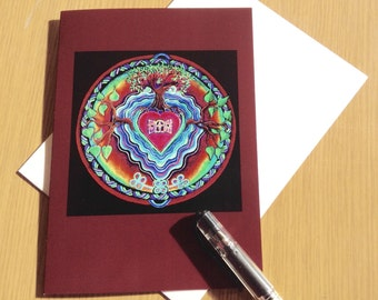 Window to The Heart Mandala Greeting Card