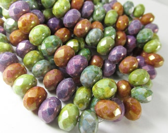 12 Luster Mix Purple, Aqua, Green, Brown Czech Glass 8mm x 6mm Faceted Rondelle Jewelry Beads