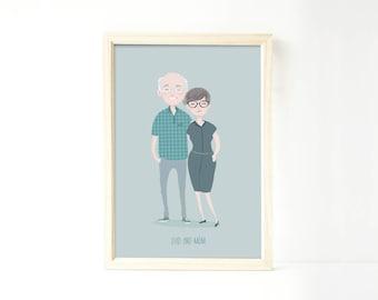Custom portrait illustration of couple, personalized drawing, family illustration with pets, wedding gift, wedding portrait