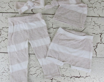 4 piece gender neutral oatmeal and cream set - handmade newborn photography prop
