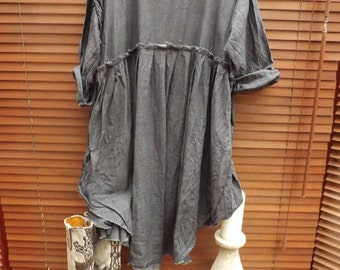 RITANOTIARA European Linen with RNT magnolia bow boho Storm grey slate  empire line dress frayed edges All SIzes prairie gypsy made to order