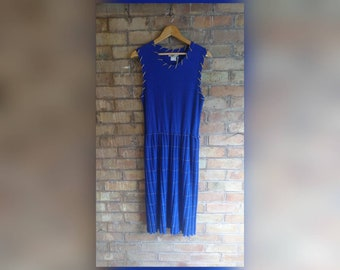 Vintage royal blue dress with gold stitch