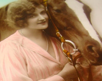 Nice Vintage/Antique Hand Tinted RPPC (Lady and Horse)
