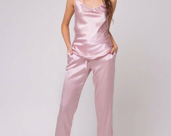Long silk pajama set Silk top Silk pants Natural silk pajamas Silk pyjama Silk sleepwear Bridal sleepwear Gift For Her Gift for women