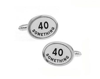 Let the World Know that Your 40 Something Cufflinks Fun Novelty Funny Classic Cuff Links Forty Comes with Gift Box