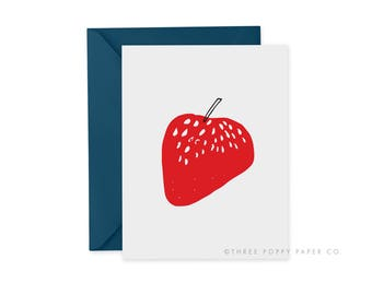 Strawberry card, Strawberry Note Card, Berry Note Card, Berry Greeting card, blank inside, Minimalist fruit art, just because, A2