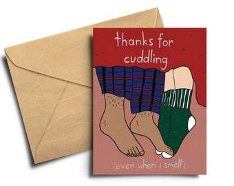 Thanks For Cuddling cute romantic Greeting Card