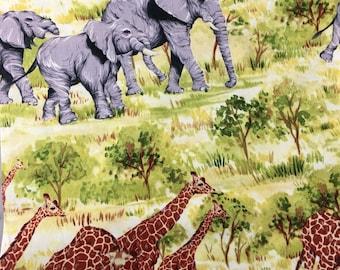 "Giraffe and Elephant Fabric / Savannah / Yellow / 100% Cotton / Michael Miller / Remnant 23 x42"""