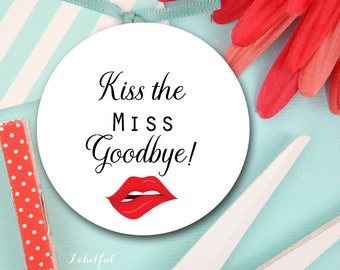 Kiss the Miss Goodbye, Download Thank You Labels, Sticker Labels, Bachelorette party tags, bachelorette Tags, Thank You Label, LF35