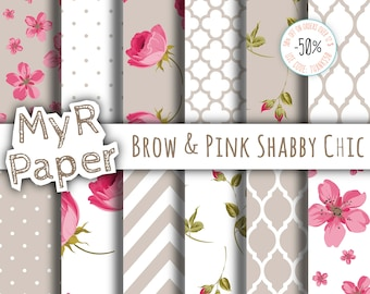 "Shabby Chic Digital Paper: ""Brow & Pink Shabby Chic"" romantic scrapbook background - Instant Download – perfect for wedding invites, cards"