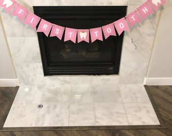 First tooth banner, Teething party banner, teething banner, first tooth party, first tooth banner, custom banner, pink banner