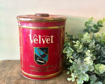 Vintage Tobacco Tin, Velvet Tobacco, Tobacco Canister, Vintage Home Decor, Metal Tin, Lidded Container, Vintage Tin, Red, Pipe, Collectible