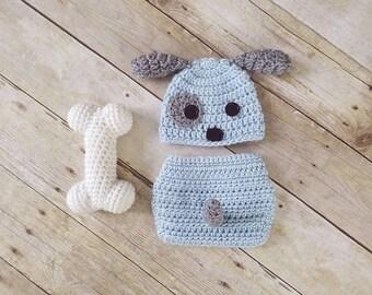 Baby Boy Puppy Outfit | Newborn Blue Puppy Set | Crochet Dog Hat | Puppy Nursery | Baby Puppy Costume | New Mom Gift | Baby Shower Gift