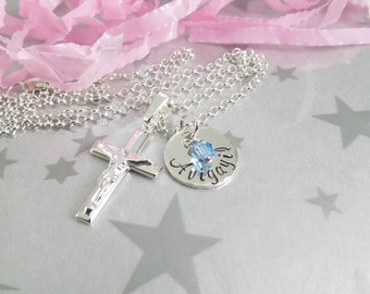 Sterling Silver Crucifix Pendant with Hand Stamped Personalized Name. First Holy Communion Necklace. Confirmation Necklace. Goddaughter Gift