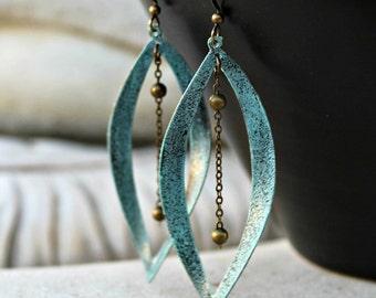 Aqua Chandelier Dangle Earrings, Patina Earrings, Dangle Earrings, Ball Chain, Boho Chic