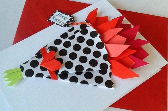 Flower card birthday origami tulips paper flowers card mightylinksfo