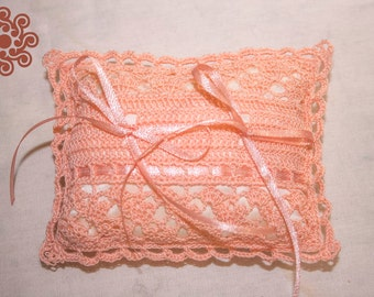 Peach crocheted lace ring-bearer pillow (pillow for rings)