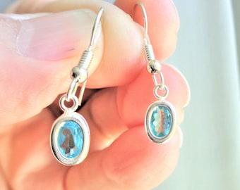 Caribbean blue apatite earrings with sterling silver bezel ear wires