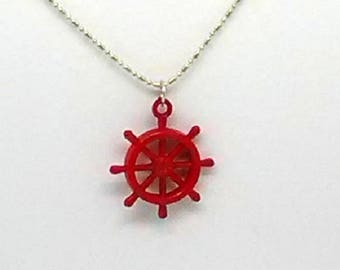 Red Ship's Wheel Charm Necklace