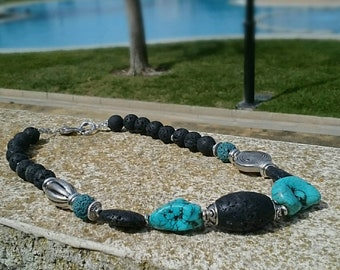 "Necklace ""NERO"" short-turquoise and volcanic lava"