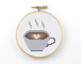 Coffee Cross Stitch pattern, coffee pattern, coffee heart pattern, coffee mug, counted cross stitch, coffee pdf pattern, cross stitch pdf