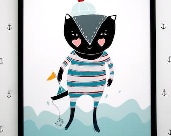Print- Kitty Sailor-
