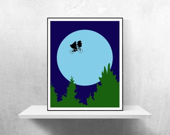 E.T. Minimalist Poster | ET Poster E T Poster Extra Terrestrial E T ET Print ET Extra Terrestrial E T Universal Minimalist Movie Poster