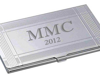 Personalized Slim Business Card Holder, Engraved Business Card Case, Corporate Office Employee Recognition Gift, Customized Architects Gift